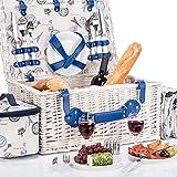 Picknickkorb für 4 Personen - Luxus Weidenkorb...