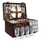 Deluxe Weiden Picknickkorb 'Bromley' für 4 Personen...