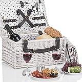 Weidenkorb Picknickkorb aus Weide mit Picknick...