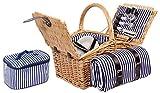 4 Personen Weiden Picknickkorb Picknickkoffer Set mit...