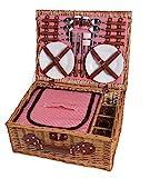 eGenuss LY12041 Handgefertigtes Picknickkorb für 4...