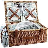 HappyPicnic Wicker Picknickkorb für 4 Personen, Willow...
