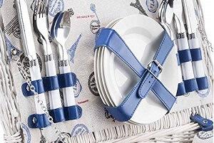 Picknickkorb mit Porzellangeschirr